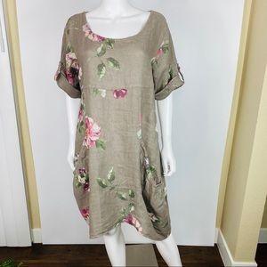 VASNA Sz L Floral  Linen Dress